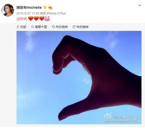 资料图:陈妍希公布与陈晓恋情。(陈妍希微博截图)