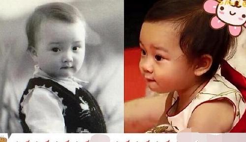 甜馨和父母小时候照片对比