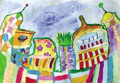 她和三个小伙伴以家乡重庆为主题,各自画了一幅