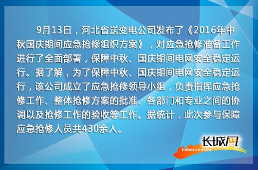 河北省送变电公司部署中秋国庆期间应急抢修工作