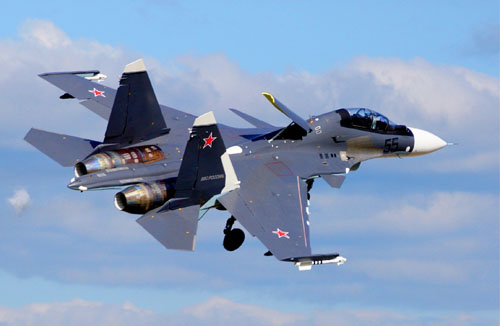 资料图:俄罗斯苏-35飞机在航展开幕式上进行表演
