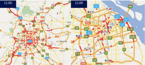 滚动新闻  今晨百度地图对假期首日北京,上海两大城市的路况和人流