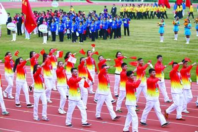 第四届全民健身运动会开幕式在阜阳体育中心举行.图为开幕式现场