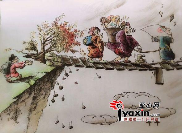 新疆昌吉女协警手绘漫画宣传反腐廉政教育