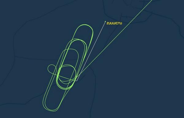 川航莫斯科至成都飞行图 同样心酸的还有由厦门飞来成都的MF8401次航班。该班早晨7点49分起飞,本来将于10点15分抵达成都。也是由于能见度太低,在双流、新津、蒲江等地上空转了1个多小时,最终于11点25分成功降落。