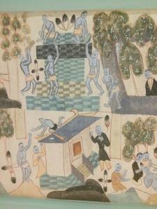 在《福田经变》图的右下角,可以找到画工的身影。