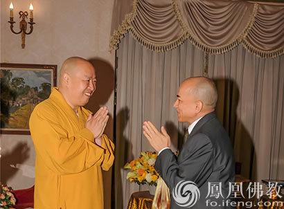 柬埔寨西哈莫尼国王会见印顺大和尚一行