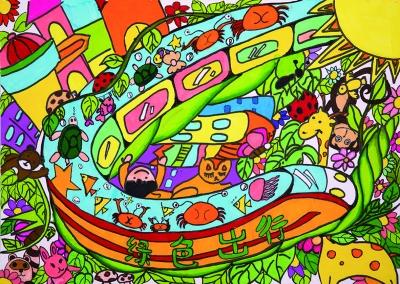 法制宣传画儿童画-54幅少儿手绘海报地铁展出