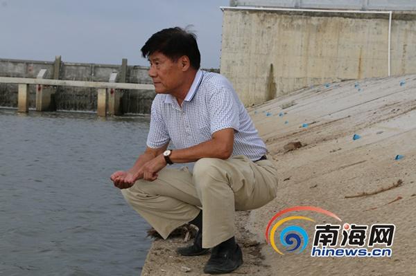 冯明祥蹲在河边查看水质。南海网记者叶俊一摄