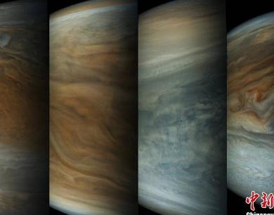 """NASA展示木星""""14连拍"""" 云层变幻莫测如水墨画"""
