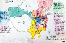 """西安一中学语文老师教学生绘制""""唐诗地图""""走红网络"""