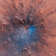 最新火星陨坑照片来啦!长这样↑