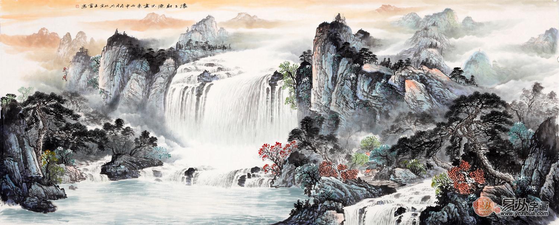 """做生意挂画首选王宁山水画《滚滚财源不断来》 财自水中来聚福运! 高山流水,绿满乾坤!此作品以""""流水生财""""为主题,主要描绘高山上的流水,源远流长的意境和景观。瀑布飞流直下,一泻千里,就像财源滚滚,势不可挡。瀑布寓意:财源滚滚;瀑布上的绿树寓意:繁荣昌盛;祥云寓意:吉祥安康。"""