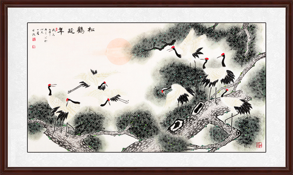 送礼首选王一容工笔画松鹤图《松鹤延年》作品出自:易从网-家里挂
