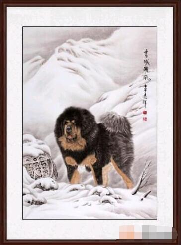 王建辉老师的这幅动物画作品藏獒图《雪域雄风》,藏獒屹立于雪域高原