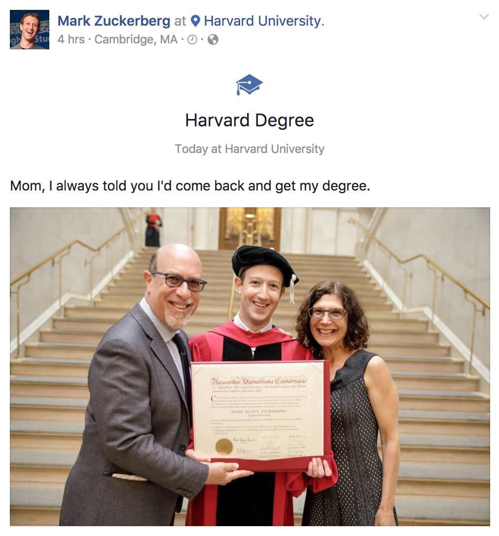 视频:扎克伯格在哈佛2017毕业典礼上的演讲