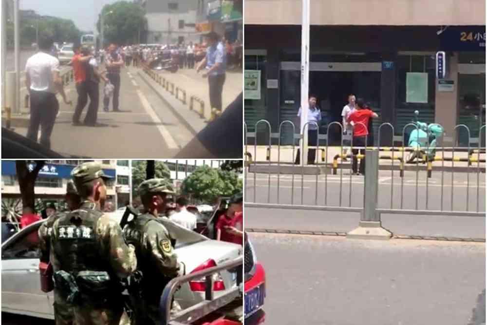 长沙一劫匪闯银行打劫挟女员工与对峙被抓