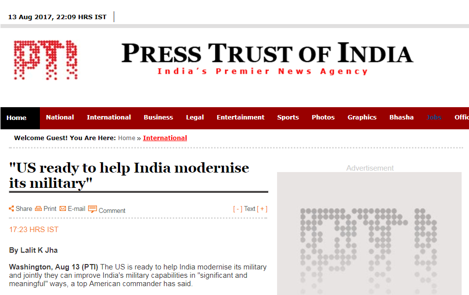 """印媒:美国准备好帮印度实现""""军事现代化"""""""