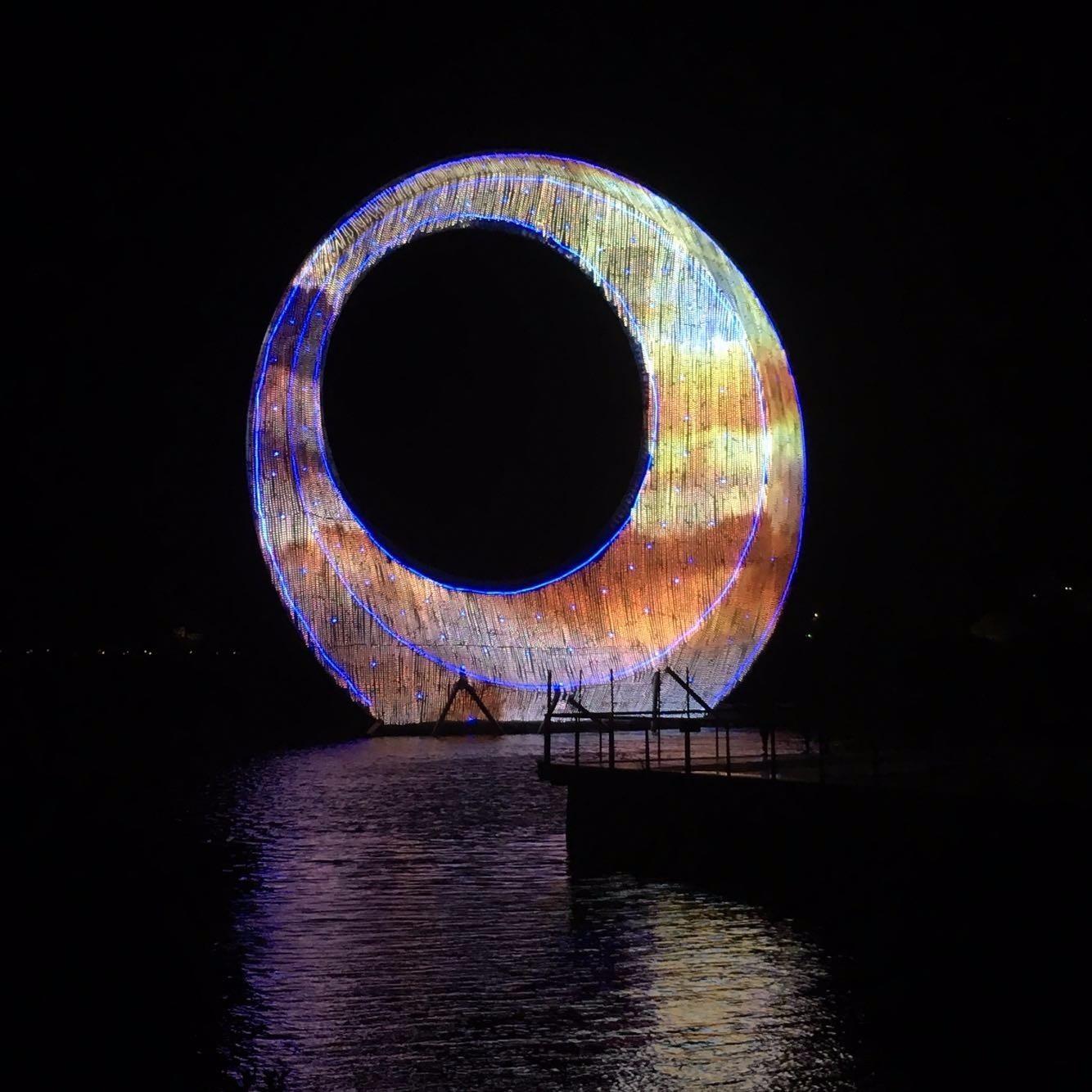 航拍「夜·优发娱乐官方网站」四大灯光秀、水秀美到泪目