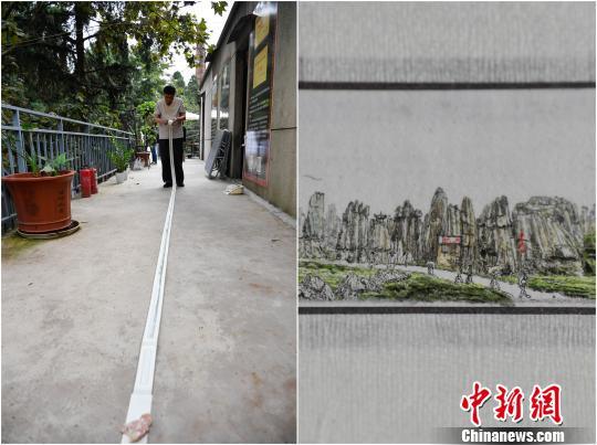 图为冉隆泉创作的《云南风光》微型国画。 刘冉阳摄