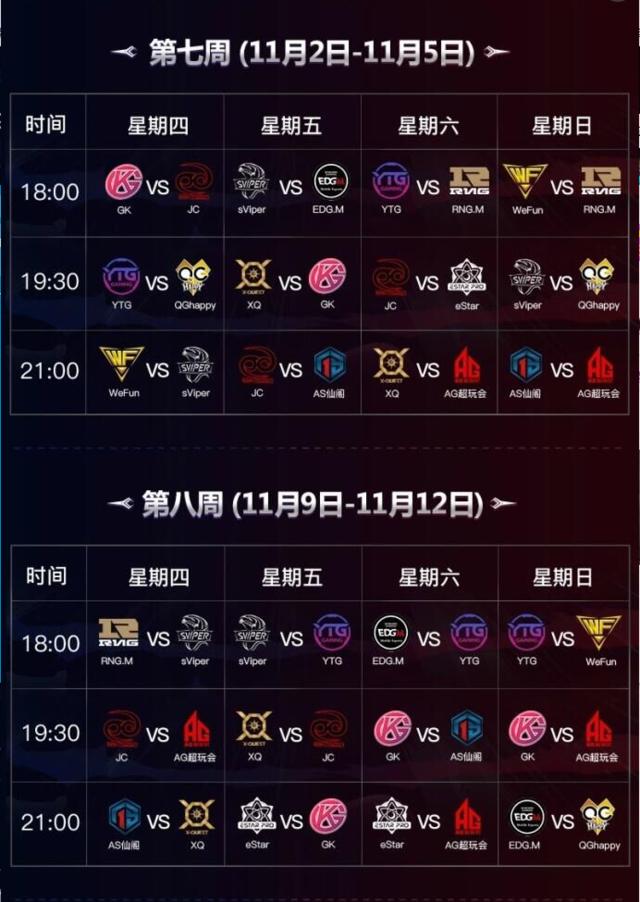 KPL秋季赛赛程公布9.21揭幕战AG超玩会对阵XQ