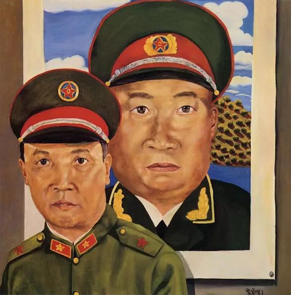 刘炜《革命军人——爹爹在朱德像前》 1991年布面油画100x100cm