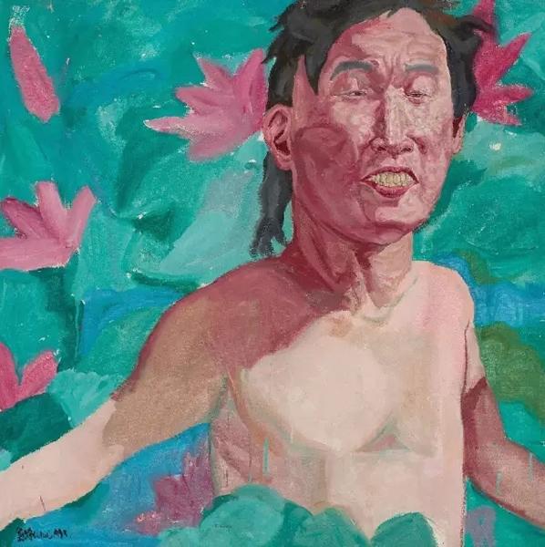 刘炜《带荷花的自画像》 布面油画100 × 100 cm 1993年作