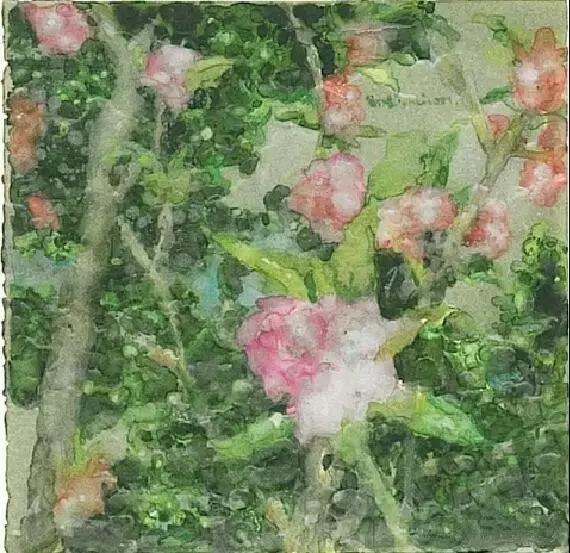 《花》,19.5×19.5 cm,纸本水彩、蜡,2007