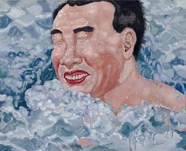 刘炜《游泳》1993年布面油画50x60cm