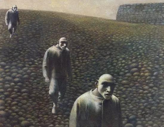 方力钧油画(之三),(46.5 60.2cm,布面油画,1988-1989年)