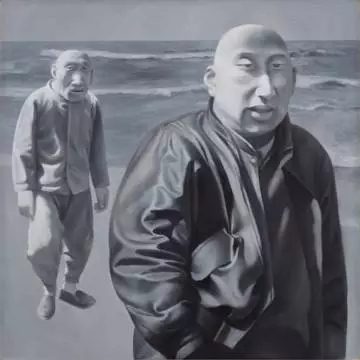 方力钧《系列一(之四)》 100×100cm   布面油画1990-1991