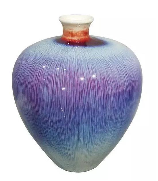 邓希平作品彩色丝毛釉葡萄瓶