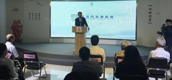 北京工艺美术博物馆馆长杨燕波为开幕仪式致辞