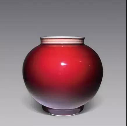 邓希平作品郎窑红釉灯笼瓶