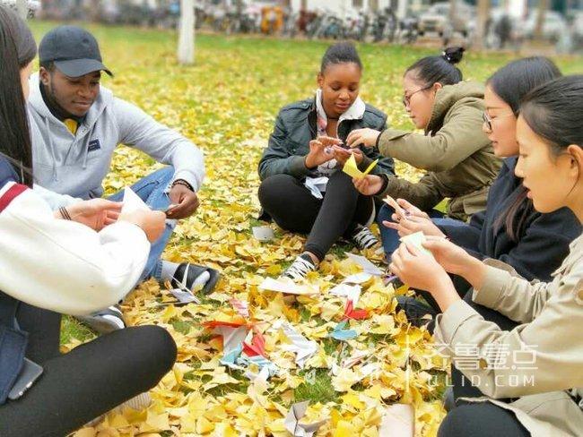 聊城大学生手工制作和平鸽呼吁环境保护