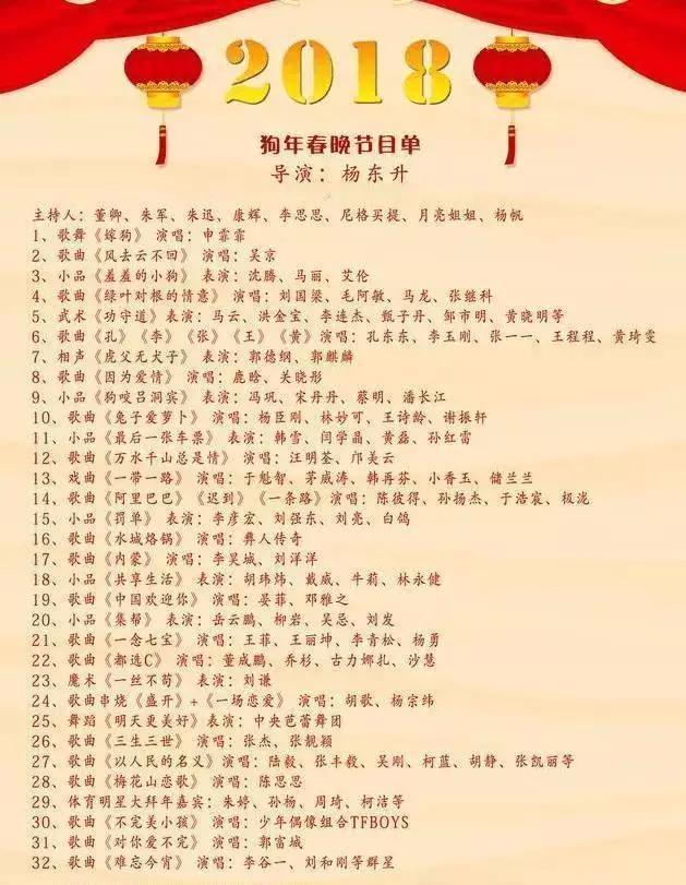 2018年春晚节目单曝光:马云,刘强东要上春晚