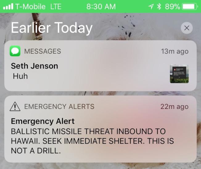 """夏威夷误报""""导弹来袭不是演习""""民众一时陷入恐慌"""
