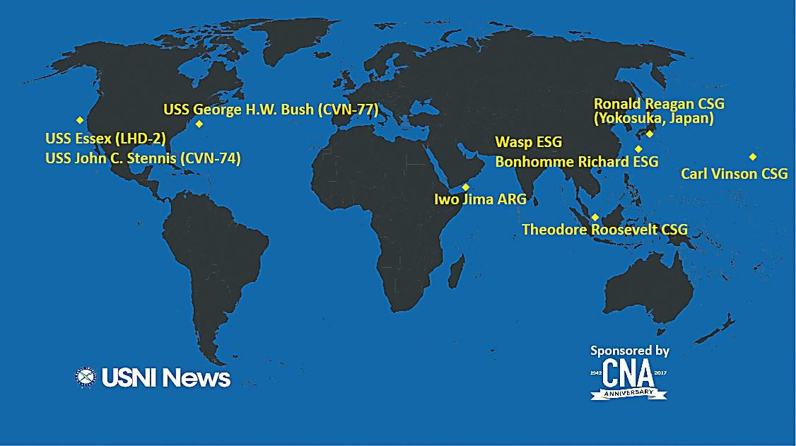 美战舰航母云集南海周边 超过美国其他舰队总和