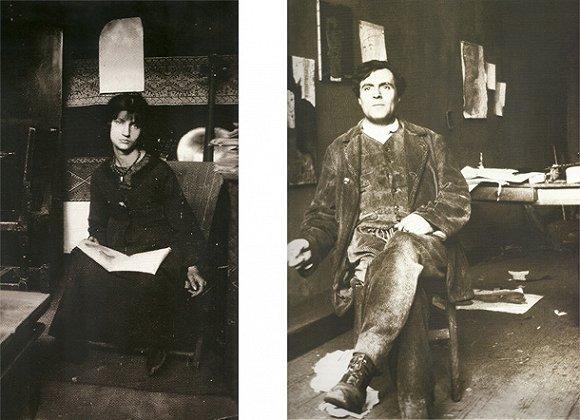 意大利画家莫迪利亚尼和他的模特、情妇珍妮