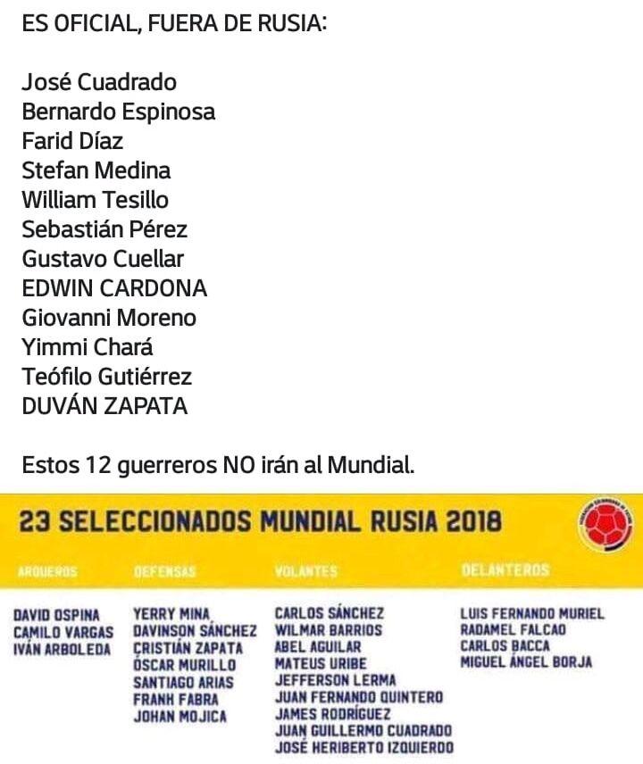 哥伦比亚媒体曝光国家队世界杯23人名单:莫雷诺无缘