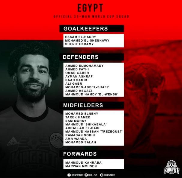 埃及公布世界杯23人名单:萨拉赫埃尔内尼领衔