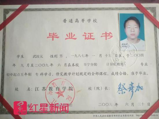 ▲武汝元的毕业证书 受访者供图