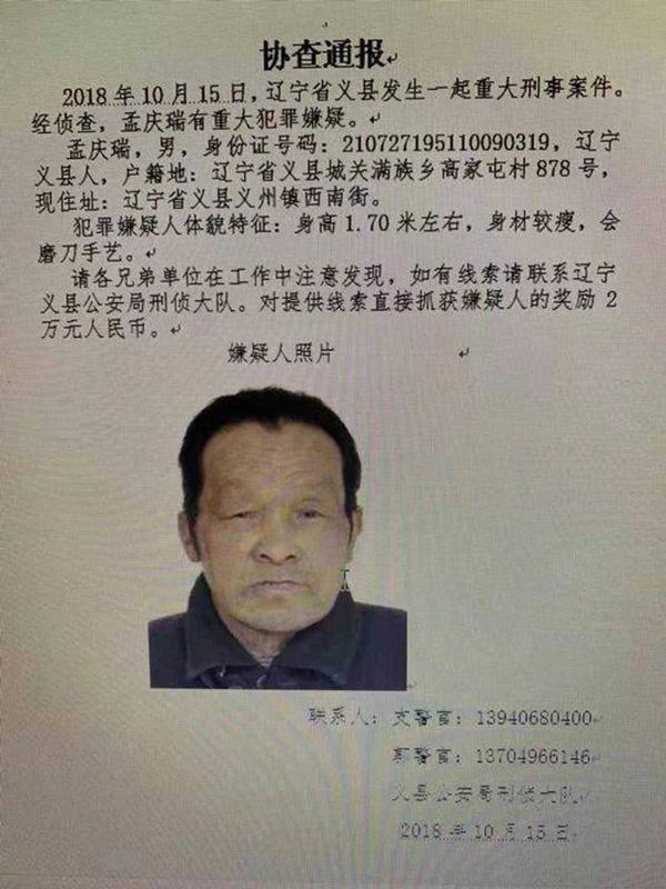 辽宁警方回应网传重大刑案:67岁嫌犯在抓捕过程中自杀