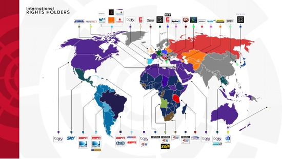 2017-2018赛季西甲全球转播商分布