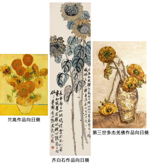 梵高、齐白石、第三世多杰羌佛三家向日葵,谁的更胜一筹