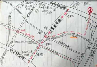 快递员手绘北京避堵地图走红 网友:比导航牛