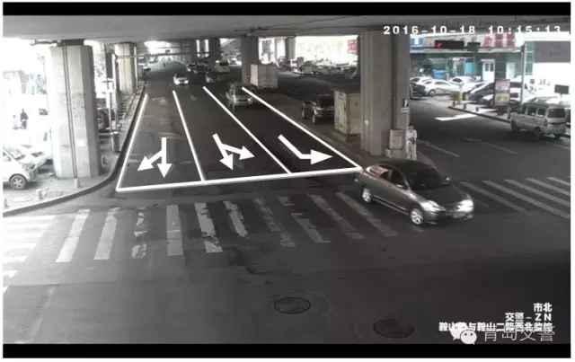 """东进口优化示意图 东进口 鞍山路-鞍山二路东进口左转车流量较大,为减少车辆变道,将东进口由""""左转+直行+直右""""改为""""左转+直左+直右"""",规范路口通行秩序,空中标志同步更换。"""