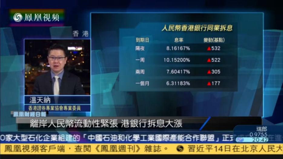 温天纳:港人民币拆息飙升 或有关打压炒作