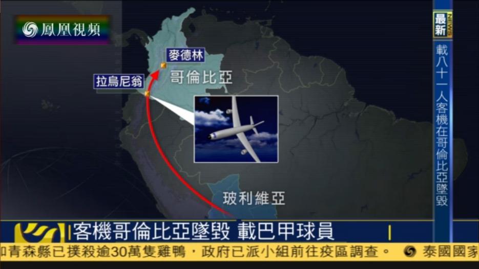 一架载有巴甲球员包机坠毁 10人获救6人生还