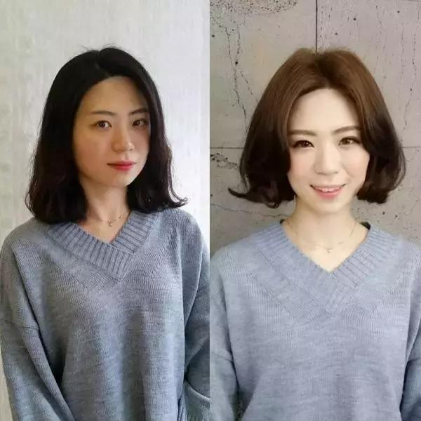 用大弧度的内卷发去修饰宽宽的颧骨部分和尖尖下巴,使杏仁形脸型变图片